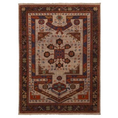 Burano Beige and Burgundy Wool Prayer Rug with Blue Accents