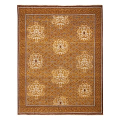 Burano Brown and Beige Wool Rug with Frost Blue Accents