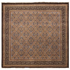 Burano Brown and Blue Wool Square Rug with Bold Black Border