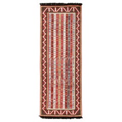 Burano Burgundy Red and Blue Wool Runner Rug with Antique Hook Motifs