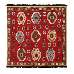 Burano Crimson Red Blue and Yellow Wool Rug