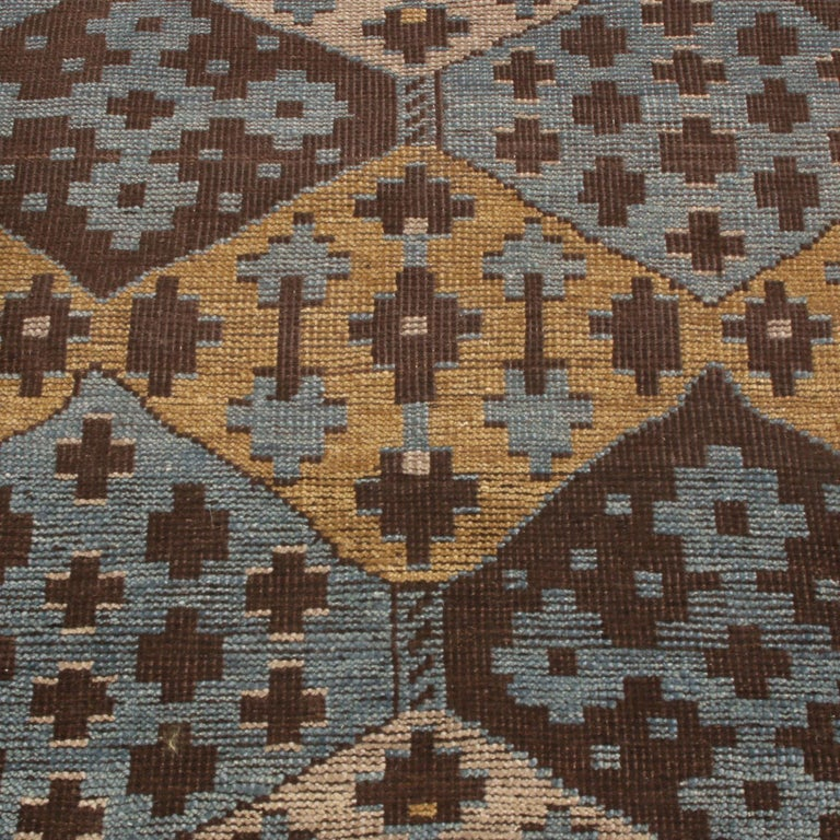 Indian Burano Geometric Brown Beige Gold and Blue Wool Rug For Sale