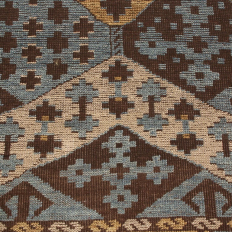 Hand-Knotted Burano Geometric Brown Beige Gold and Blue Wool Rug For Sale