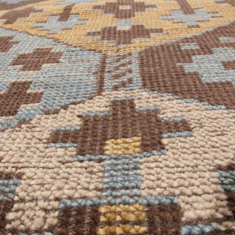 Burano Geometric Brown Beige Gold and Blue Wool Rug For Sale 2