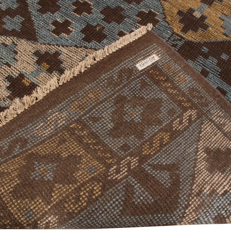 Contemporary Burano Geometric Brown Beige Gold and Blue Wool Rug For Sale