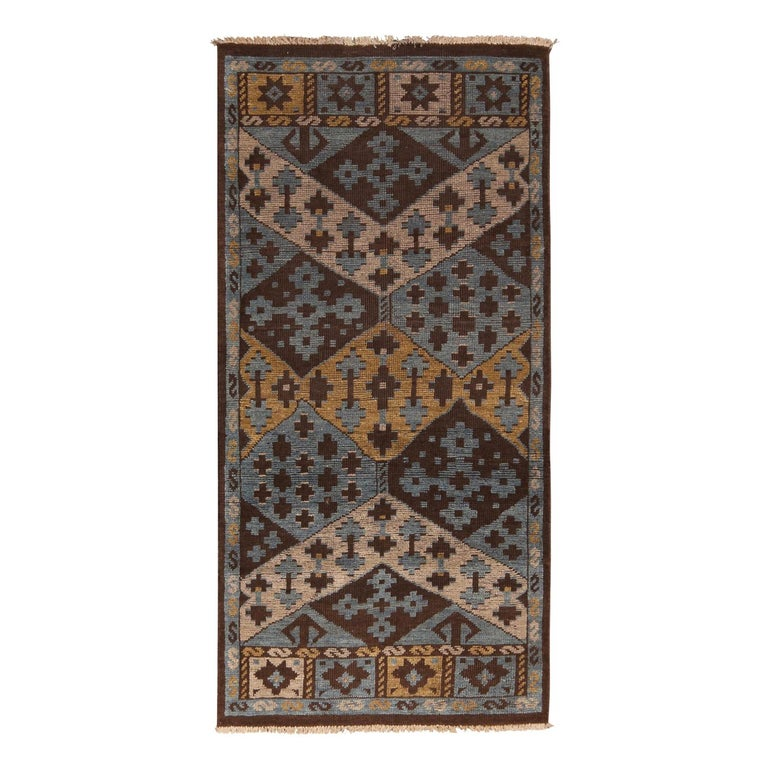 Burano Geometric Brown Beige Gold and Blue Wool Rug For Sale