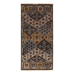 Burano Geometric Brown Beige Gold and Blue Wool Rug