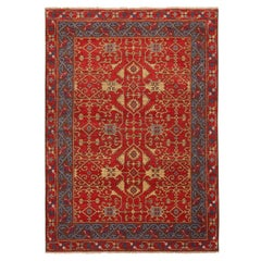Burano Geometric Red and Blue Wool Rug with Beige Field Accents