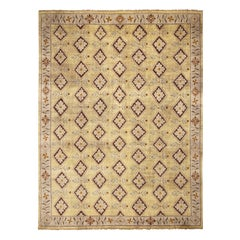 18th-Century Savonnerie Inspired Beige Golden-Yellow Floral Rug by Rug & Kilim