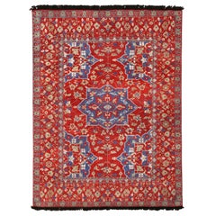 Burano Red and Blue Wool Floral Rug
