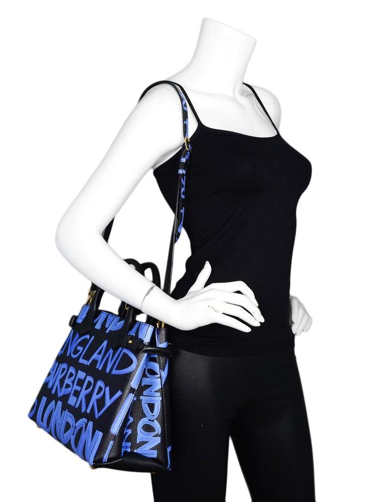 8ccac0b93a75 Burberry 2018 Black Blue Grained Calfskin Leather Graffiti Medium Banner  Tote Bag Made In
