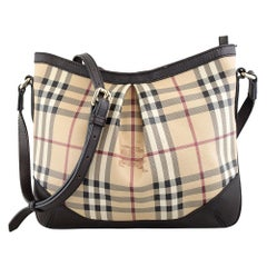 Burberry 3690370 Small Haymarket Chocolate Crossbody Bag