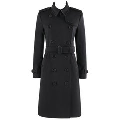 "BURBERRY A/W 2019 ""Kensington"" Black Cashmere Double Breasted Belted Trench Coat"