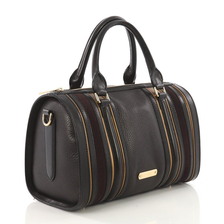 Black Burberry Alchester Bowling Bag Leather Medium For Sale