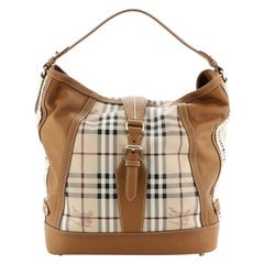 Burberry Aldham Hobo Haymarket Coated Canvas and Leather Medium