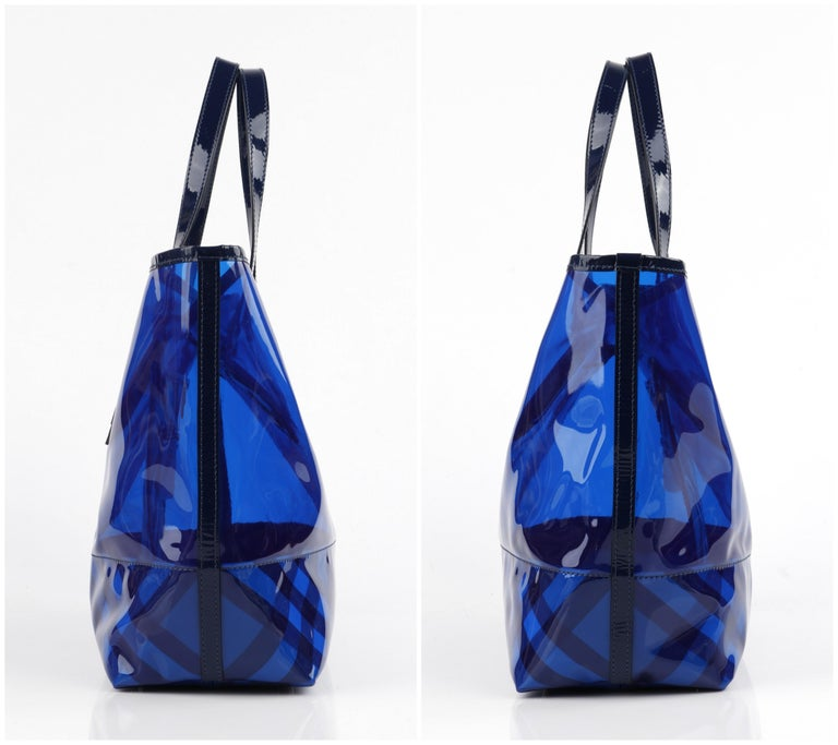 "Women's BURBERRY ""All Over Perspex"" Jet Blue Transparent PVC Tote Bag + Pouch For Sale"