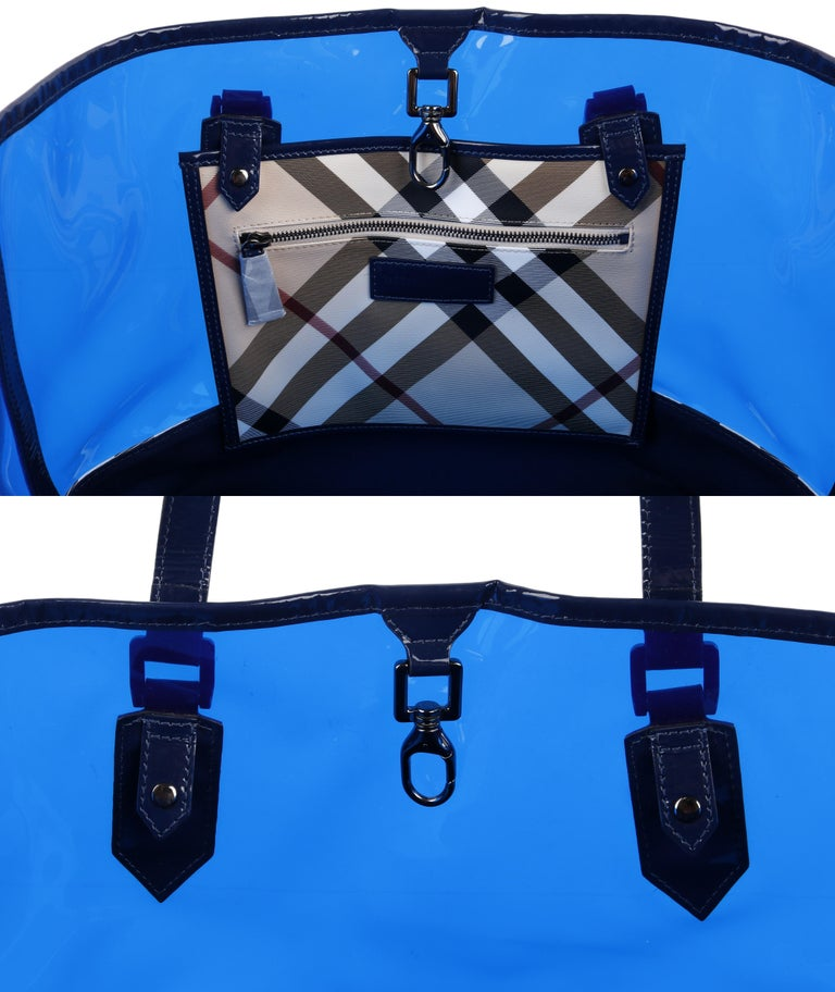 "BURBERRY ""All Over Perspex"" Jet Blue Transparent PVC Tote Bag + Pouch For Sale 1"