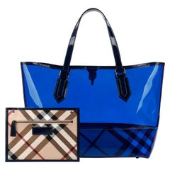 "BURBERRY ""All Over Perspex"" Jet Blue Transparent PVC Tote Bag + Pouch"