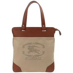 BURBERRY Almond Brown Leather Embroidered Signature Tote Shopper Bag