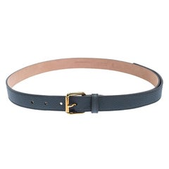 Burberry Ash Blue Leather Thomas Buckle Belt 90CM