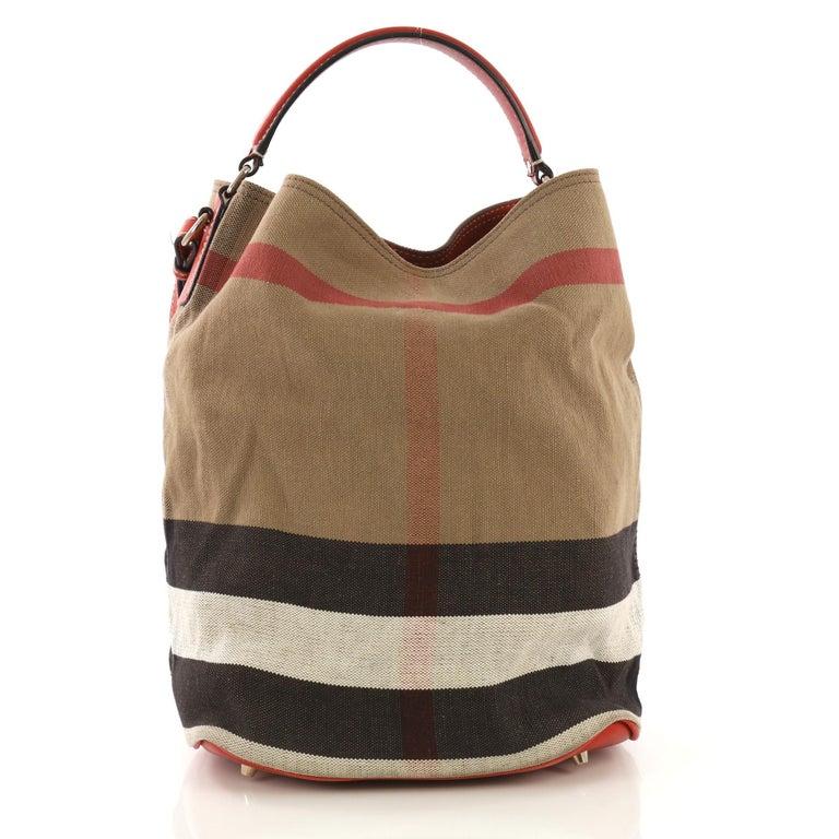 Burberry Ashby Handbag House Check Canvas Medium At 1stdibs