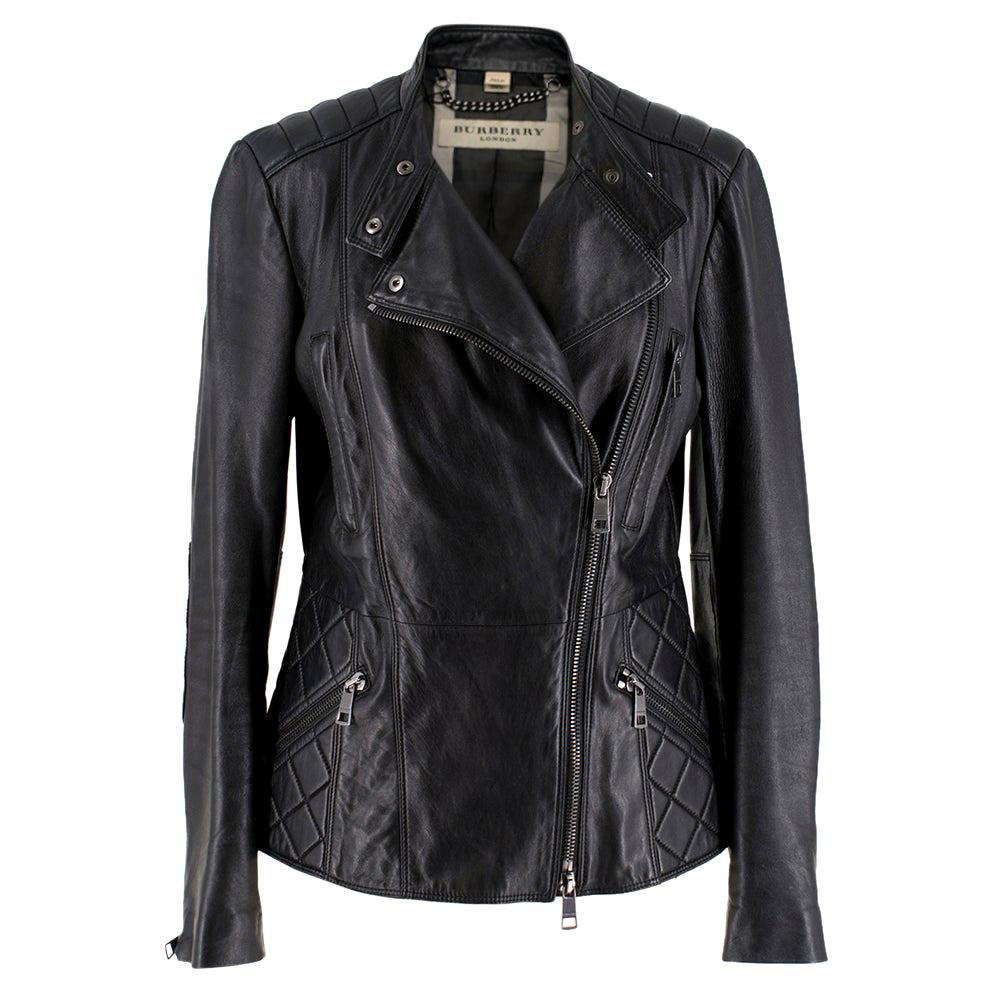 Burberry Asymmetric Zip Black Leather Biker Jacket - Size US 4