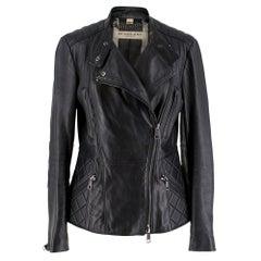 Burberry Asymmetric Zip Black Leather Biker JacketUK 8