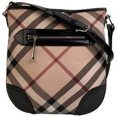 Burberry Beige and Black Nova Check Canvas Messenger Bag