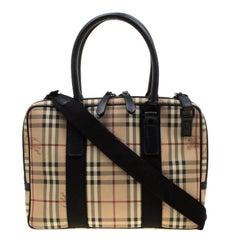 Burberry Beige/Black Haymarket Check PVC and Canvas Laptop Bag