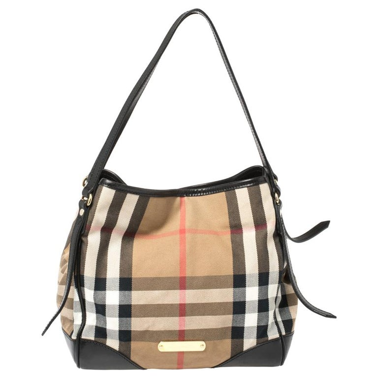 Burberry Beige/Black House Check Fabric and Leather Canterbury Tote