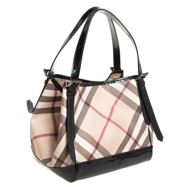 Women's Burberry Beige/Black Nova Check PVC and Patent Leather Small Canterbury Tote For Sale