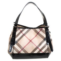 Burberry Beige/Black Nova Check PVC and Patent Leather Small Canterbury Tote