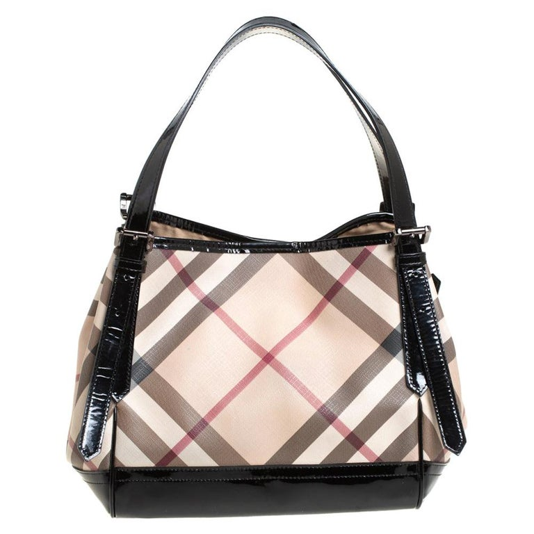 Burberry Beige/Black Nova Check PVC and Patent Leather Small Canterbury Tote For Sale