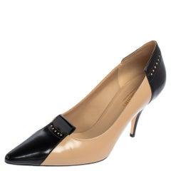 Burberry Beige/Black Patent Leather Eldmon Brogue Detail Pumps Size 38.5