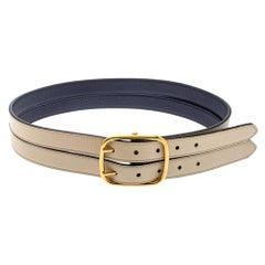 Burberry Beige/Blue Leather Lynton Double Strap Belt 80CM