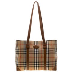 Burberry Beige/Brown Canvas and Leather Vintage Haymarket Check Tote