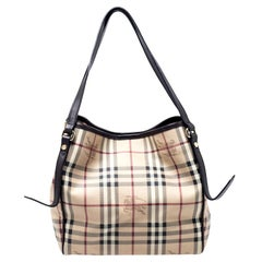 Burberry Beige/Brown Haymarket Check PVC and Leather Small Salisbury Tote
