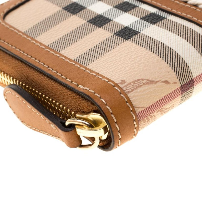 Burberry Embossed Leather Zip Around Wallet: Burberry Beige/Brown House Check PVC And Leather Zip