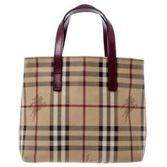 Burberry Beige/Burgundy Haymarket Check PVC and Leather Mini Oxford Tote