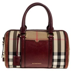 Burberry Beige/Copper House Check Canvas and Leather Sartorial Bowler Bag