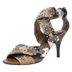 Burberry Beige  CrissCross Canvas Spike Studded Open Toe Sandals Size 37