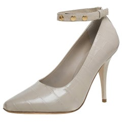 Burberry Beige Croc Embossed Leather Jermyn Ankle Cuff Pumps Size 37