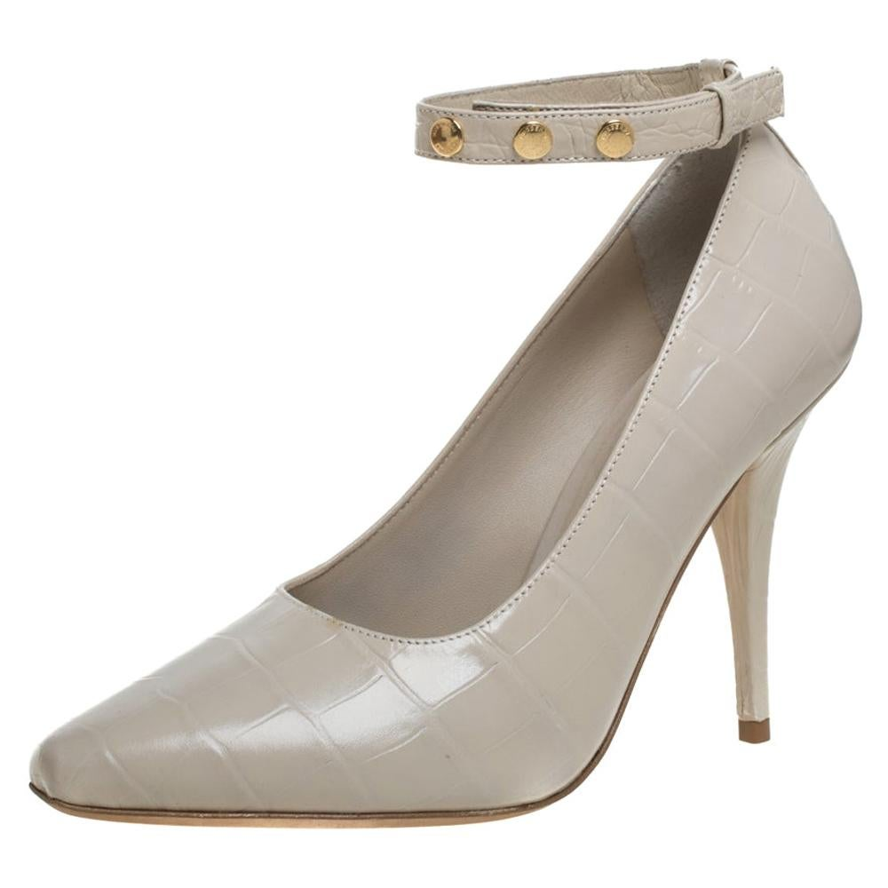 Burberry Beige Croc Embossed Leather Jermyn Ankle Cuff Pumps Size 39