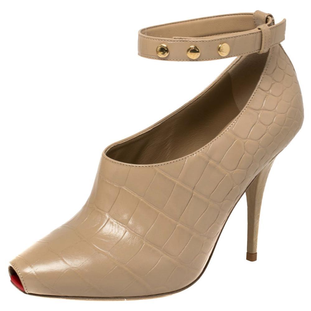 Burberry Beige Croc Embossed Leather Jermyn Peep Toe Ankle Cuff Pumps Size 39