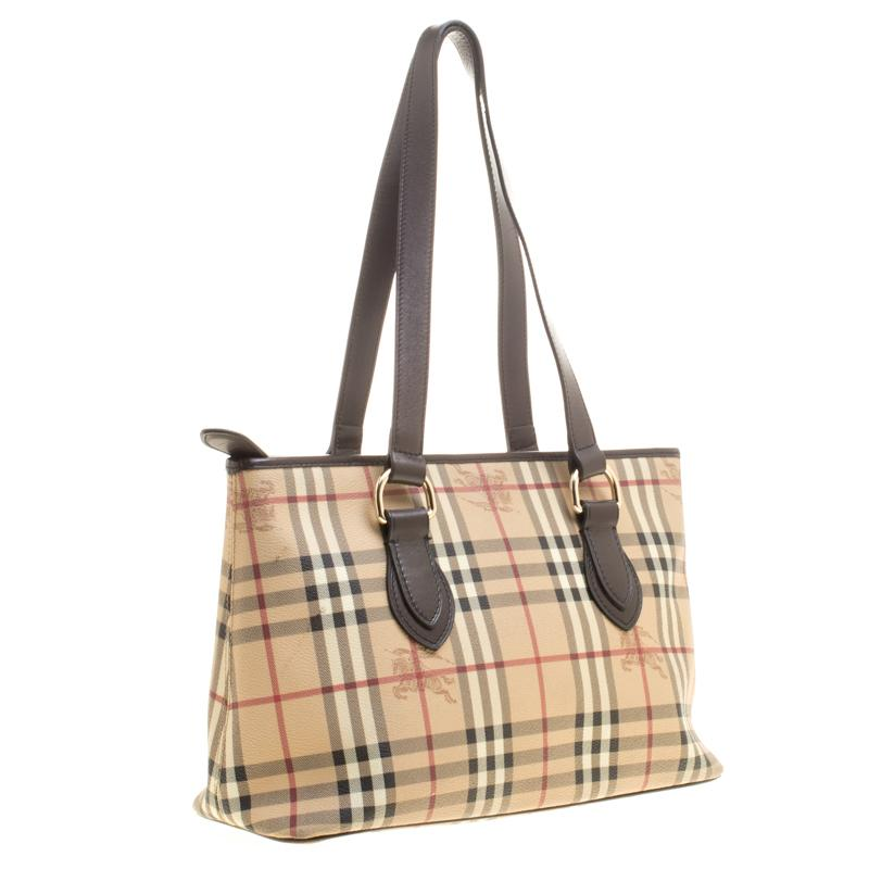 388c4284fcf0 Burberry Beige  Dark Brown Haymarket Check PVC and Leather Regent Tote For  Sale at 1stdibs