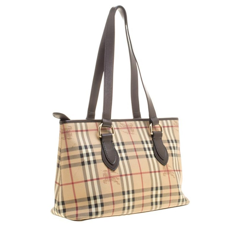 89061d01012 Burberry Beige  Dark Brown Haymarket Check PVC and Leather Regent Tote In  Good Condition For