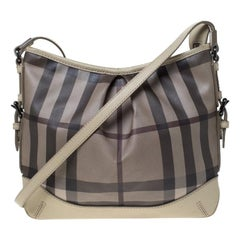 Burberry Beige/Grey Smoked Check PVC and Leather Hartham Shoulder Bag