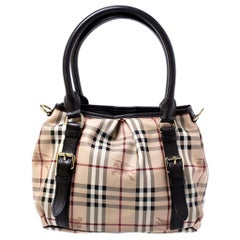 Burberry Beige Haymarket Check Coated Canvas Small Northfield Tote