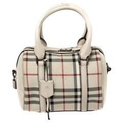 Burberry Beige Haymarket Check Nylon and Leather Boston Bag