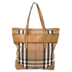 Burberry Beige House Check Canvas and Leather Marlow Shopper Tote